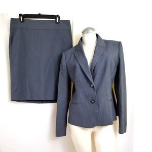 Kate Hill Size 10 12 Skirt Suit Blue Gray